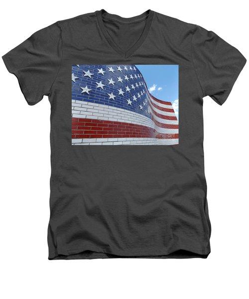 Red White And Brick Men's V-Neck T-Shirt