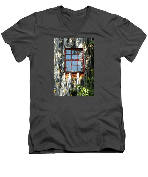 Men's V-Neck T-Shirt featuring the photograph The Red Window by Sandi OReilly