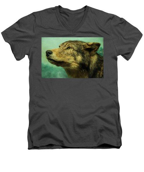 Men's V-Neck T-Shirt featuring the digital art Red Wolf Digital Art by Chris Flees