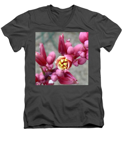 Red Yucca Macro Men's V-Neck T-Shirt by Russell Keating