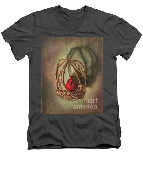 Redbird Men's V-Neck T-Shirt by Randy Burns