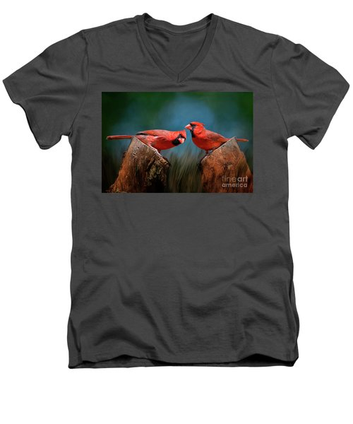 Men's V-Neck T-Shirt featuring the photograph Redbird Sentinels by Bonnie Barry
