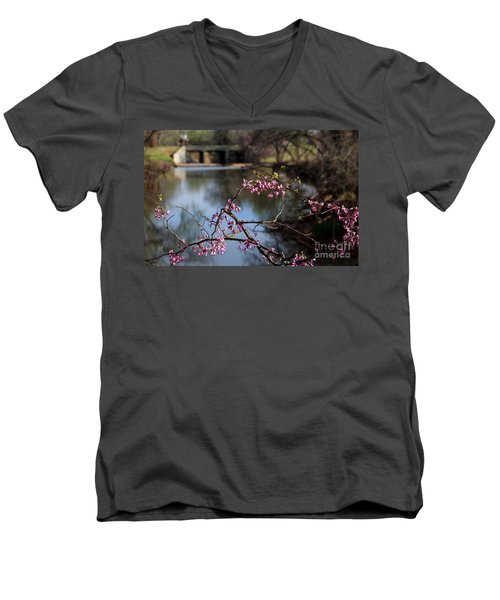 Redbuds And An Old Bridge Men's V-Neck T-Shirt