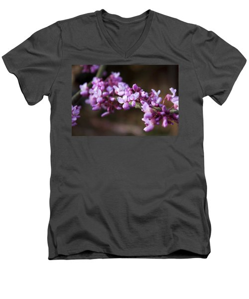 Men's V-Neck T-Shirt featuring the photograph Redbuds In March by Jeff Severson