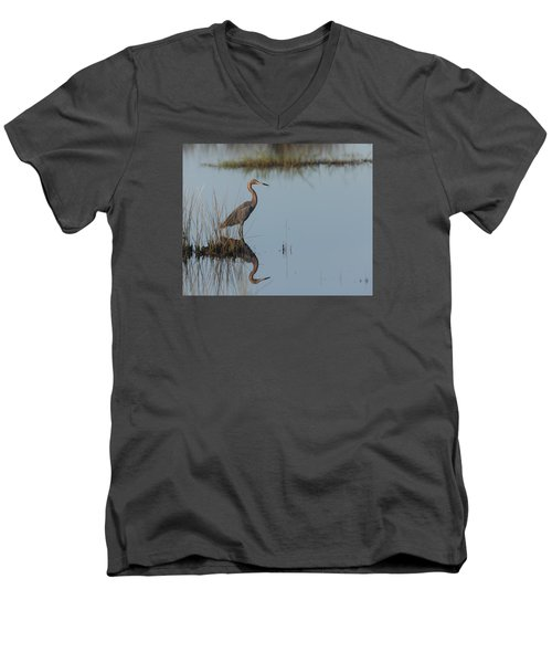 Reddish Egret And Reflection In The Morning Light Men's V-Neck T-Shirt