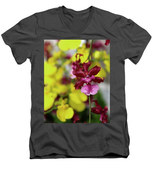 Maroon And Yellow Orchid Men's V-Neck T-Shirt