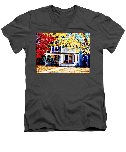 Reds And Yellows Men's V-Neck T-Shirt by MaryLee Parker