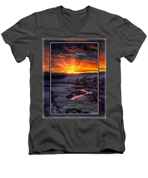 Redwater River Sunrise Men's V-Neck T-Shirt