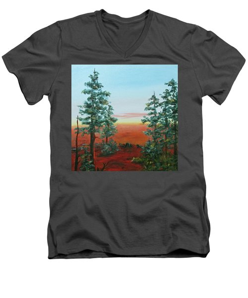 Men's V-Neck T-Shirt featuring the painting Redwood Overlook by Roseann Gilmore