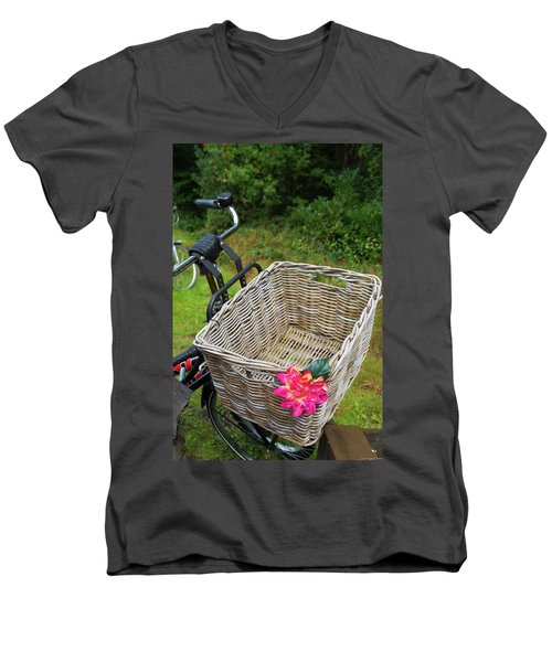 Reed Bicycle Basket Men's V-Neck T-Shirt by Hans Engbers
