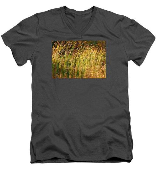 Men's V-Neck T-Shirt featuring the photograph Reeds by Susan Crossman Buscho