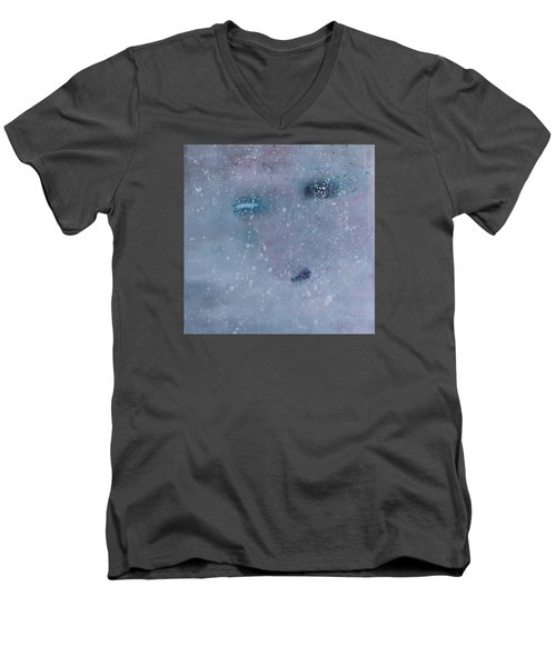 Men's V-Neck T-Shirt featuring the painting Self-examination by Min Zou