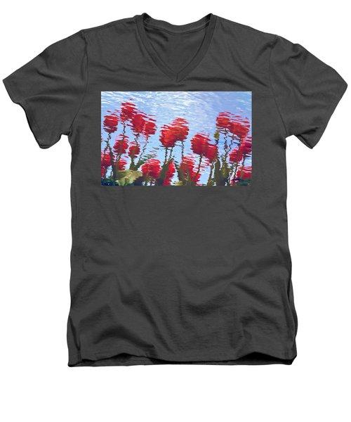 Reflected Tulips Men's V-Neck T-Shirt