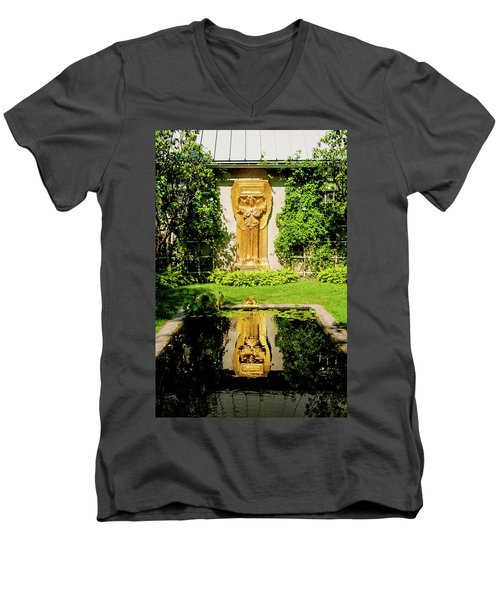 Men's V-Neck T-Shirt featuring the photograph Reflecting Art by Greg Fortier