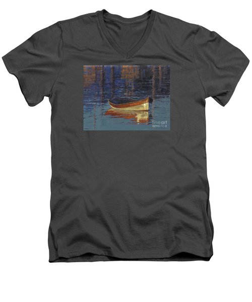 Men's V-Neck T-Shirt featuring the painting Sold Reflecting At Day's End by Nancy  Parsons