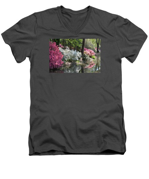 Reflecting Azaleas Men's V-Neck T-Shirt by Linda Geiger