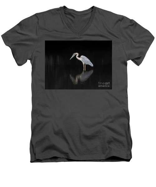 Reflecting Heron Men's V-Neck T-Shirt by Judy Wolinsky