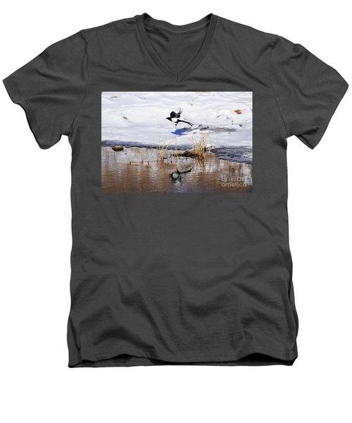 Reflecting Magpie Men's V-Neck T-Shirt