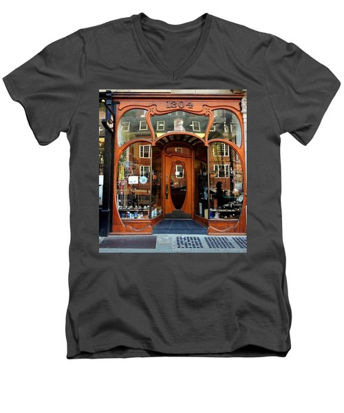 Reflecting On A Cambridge Shoe Shine Men's V-Neck T-Shirt