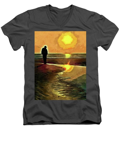 Reflecting On The Day Men's V-Neck T-Shirt by Trish Tritz