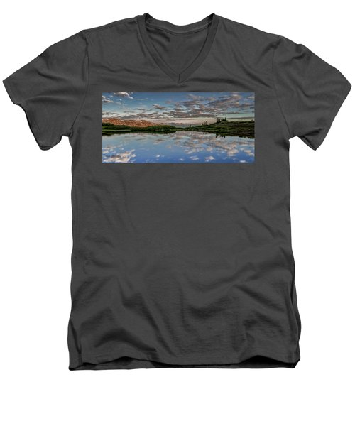 Men's V-Neck T-Shirt featuring the photograph Reflection In A Mountain Pond by Don Schwartz