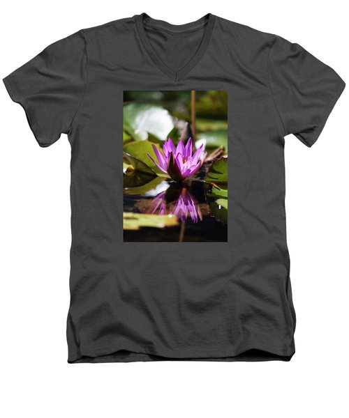 Men's V-Neck T-Shirt featuring the photograph Reflection In Fuchsia by Suzanne Gaff