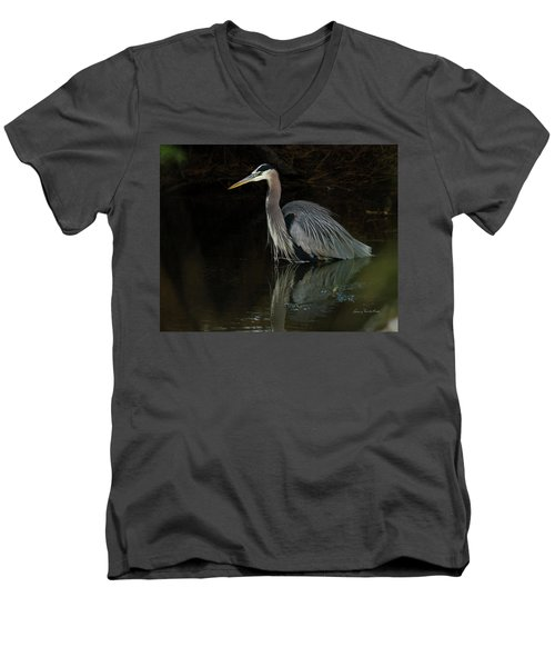 Men's V-Neck T-Shirt featuring the photograph Reflection Of A Heron by George Randy Bass