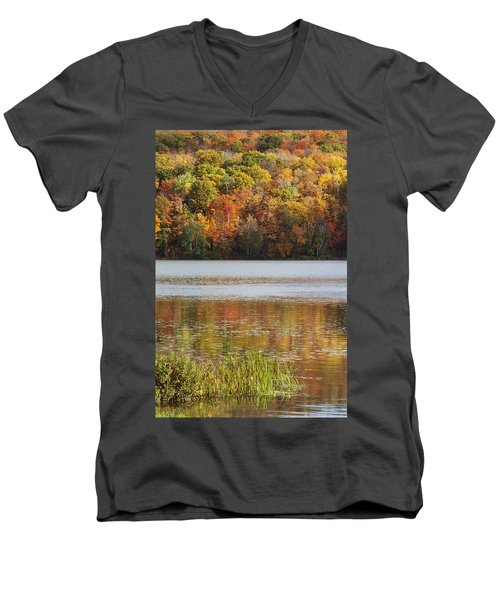 Men's V-Neck T-Shirt featuring the photograph Reflection Of Autumn Colors In A Lake by Susan Dykstra