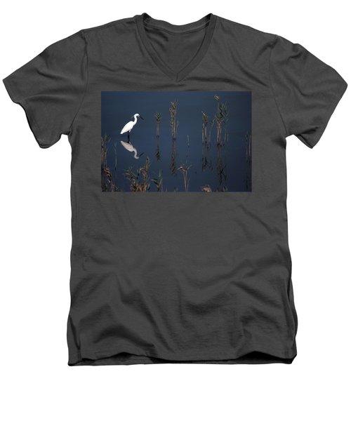 Reflection Of Little Egret In Lake Men's V-Neck T-Shirt