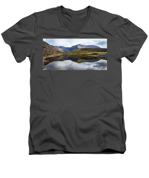 Men's V-Neck T-Shirt featuring the photograph Reflection Of The Macgillycuddy's Reeks In Lough Eagher by Semmick Photo