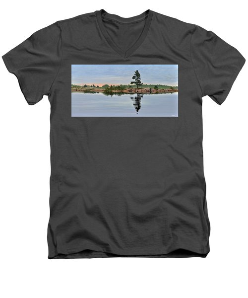 Men's V-Neck T-Shirt featuring the painting Reflection On The Bay by Kenneth M Kirsch
