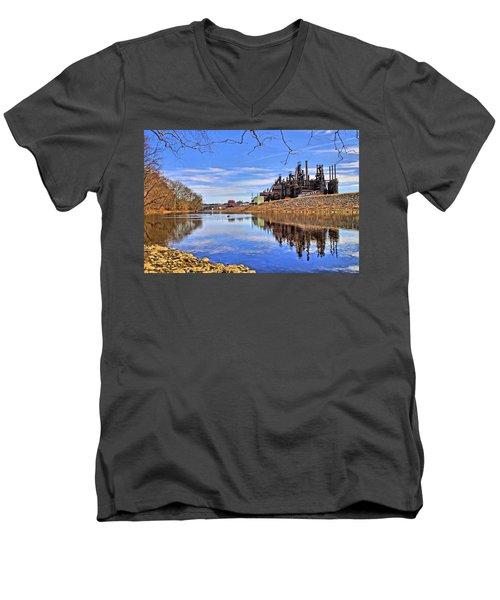 Reflection On The Lehigh - Bethlehem Pa Men's V-Neck T-Shirt