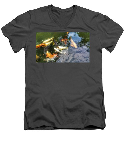 Reflections And Fish 6 Men's V-Neck T-Shirt by Isabella F Abbie Shores FRSA
