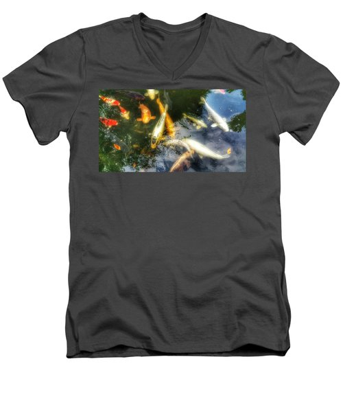 Reflections And Fish 7 Men's V-Neck T-Shirt by Isabella F Abbie Shores FRSA