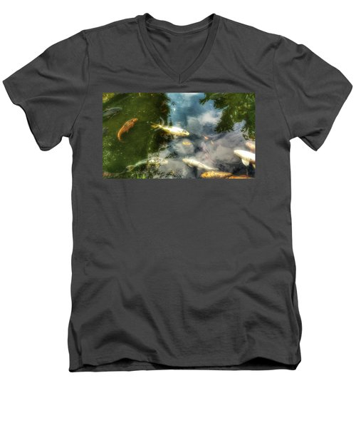 Reflections And Fish  Men's V-Neck T-Shirt by Isabella F Abbie Shores FRSA