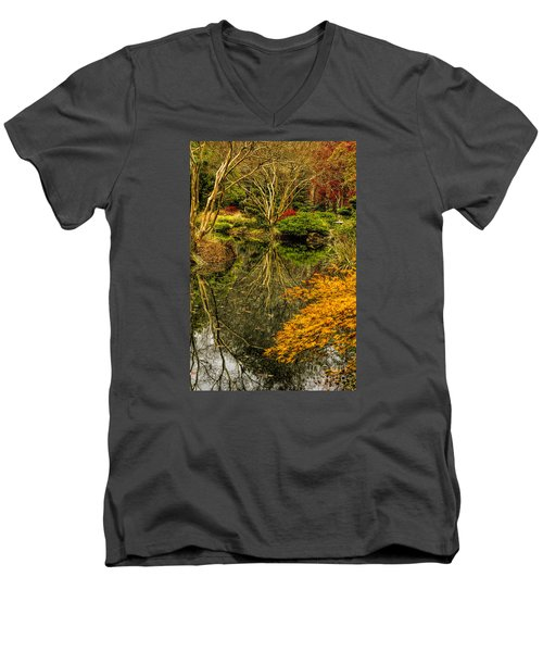 Reflections At Japanese Gardens Men's V-Neck T-Shirt by Barbara Bowen