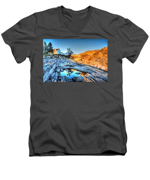 Reflections At Pemaquid Point Men's V-Neck T-Shirt