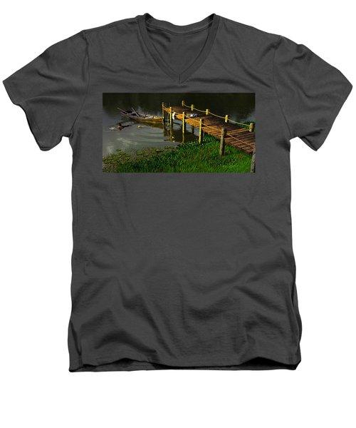 Reflections In A Restless Pond Men's V-Neck T-Shirt