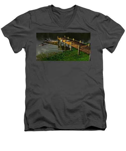 Reflections In A Restless Pond Men's V-Neck T-Shirt