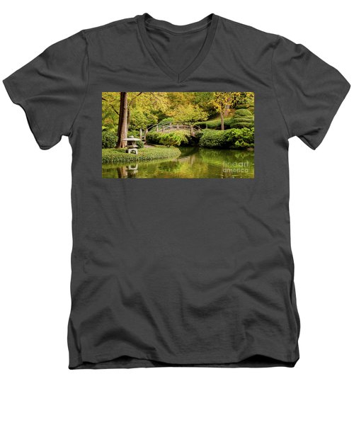 Men's V-Neck T-Shirt featuring the photograph Reflections In The Japanese Garden by Iris Greenwell