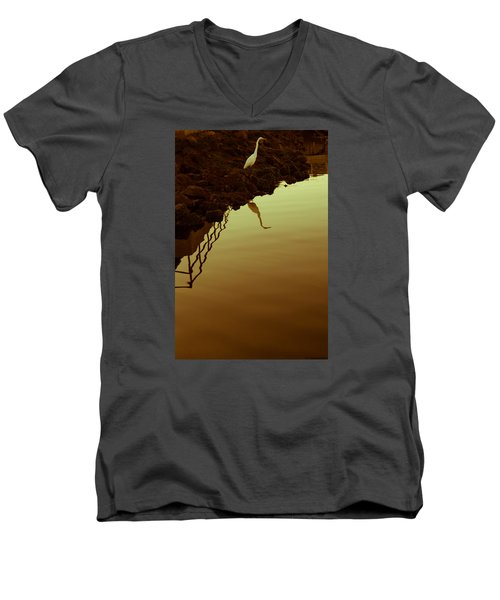 Men's V-Neck T-Shirt featuring the photograph Elegant Bird by Lora Lee Chapman