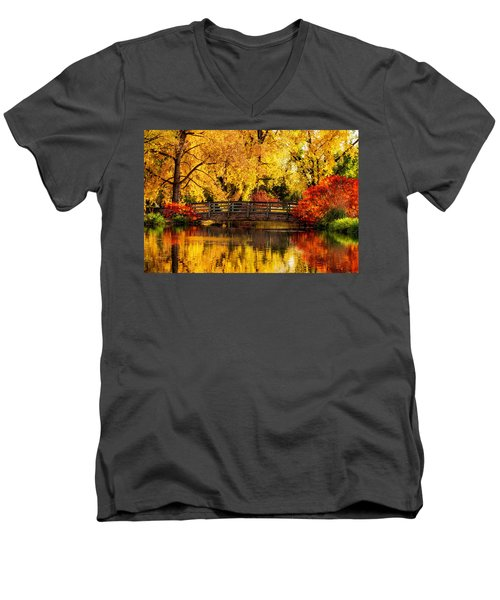 Reflections Of Fall Men's V-Neck T-Shirt by Kristal Kraft