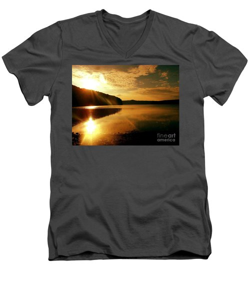 Reflections Of The Day Men's V-Neck T-Shirt by Scott D Van Osdol