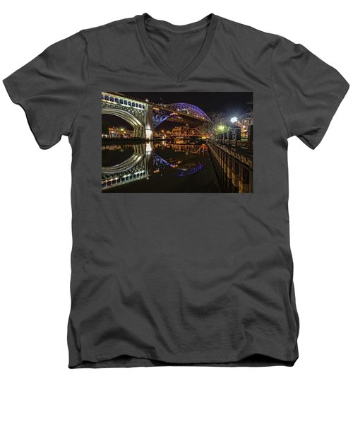Reflections Of Veterans Memorial Bridge  Men's V-Neck T-Shirt by Brent Durken