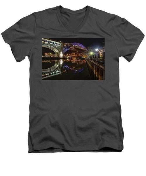 Reflections Of Veterans Memorial Bridge  Men's V-Neck T-Shirt