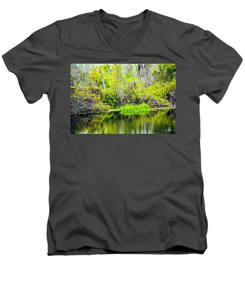 Men's V-Neck T-Shirt featuring the photograph Reflections On A Beautiful Day by Madeline Ellis
