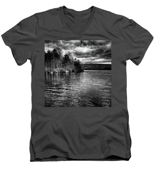 Reflections On Limekiln Lake Men's V-Neck T-Shirt by David Patterson