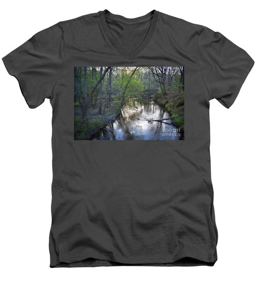 Men's V-Neck T-Shirt featuring the photograph Reflections On The Congaree Creek by Skip Willits
