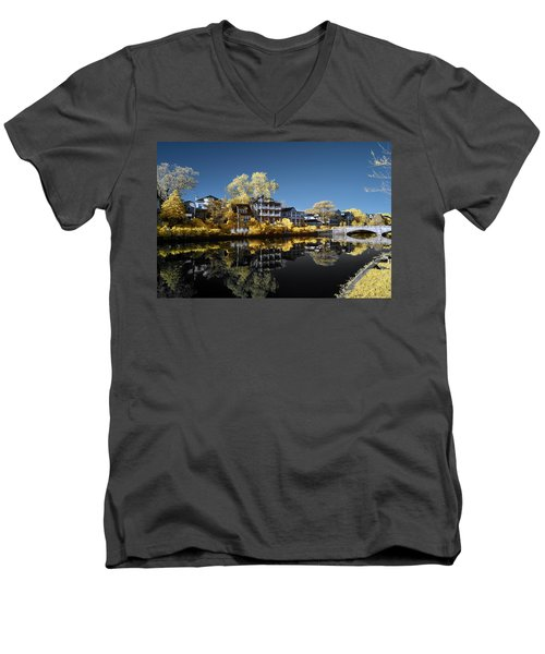 Reflections On Wesley Lake Men's V-Neck T-Shirt by Paul Seymour