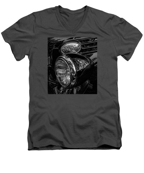 Men's V-Neck T-Shirt featuring the photograph Reflective Ford In Black-and-white by Trey Foerster